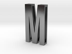 Choker Slide Letters (4cm) - Letter M in Polished Silver