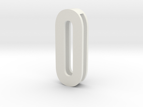 Choker Slide Letters (4cm) - Letter O or Number 0 in White Natural Versatile Plastic