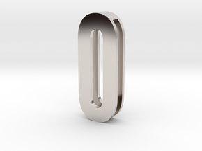 Choker Slide Letters (4cm) - Letter O or Number 0 in Rhodium Plated Brass