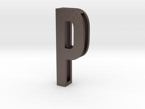 Choker Slide Letters (4cm) - Letter P in Polished Bronzed Silver Steel