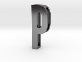 Choker Slide Letters (4cm) - Letter P in Polished Silver