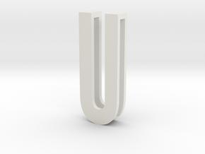 Choker Slide Letters (4cm) - Letter U in White Natural Versatile Plastic