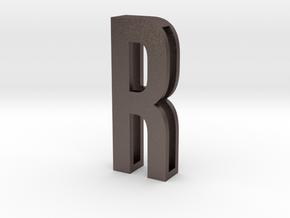 Choker Slide Letters (4cm) - Letter R in Polished Bronzed Silver Steel
