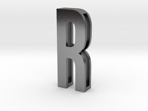 Choker Slide Letters (4cm) - Letter R in Polished Silver