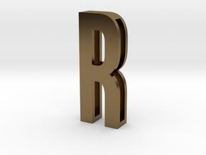 Choker Slide Letters (4cm) - Letter R in Polished Bronze