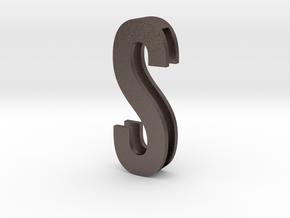 Choker Slide Letters (4cm) - Letter S in Polished Bronzed Silver Steel