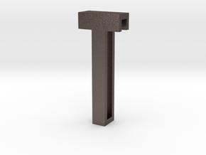 Choker Slide Letters (4cm) - Letter T in Polished Bronzed Silver Steel