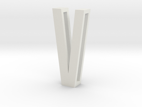 Choker Slide Letters (4cm) - Letter V in White Strong & Flexible