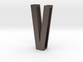 Choker Slide Letters (4cm) - Letter V in Polished Bronzed Silver Steel
