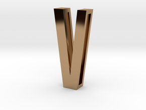 Choker Slide Letters (4cm) - Letter V in Polished Brass