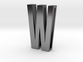 Choker Slide Letters (4cm) - Letter W in Polished Silver