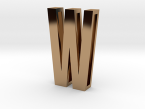 Choker Slide Letters (4cm) - Letter W in Polished Brass