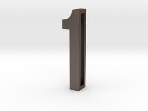 Choker Slide Letters (4cm) - Number 1 in Polished Bronzed Silver Steel