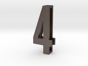 Choker Slide Letters (4cm) - Number 4 in Polished Bronzed Silver Steel