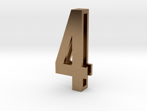 Choker Slide Letters (4cm) - Number 4 in Natural Brass