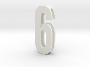 Choker Slide Letters (4cm) - Number 6 or Number 9 in White Natural Versatile Plastic