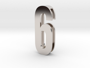Choker Slide Letters (4cm) - Number 6 or Number 9 in Rhodium Plated Brass