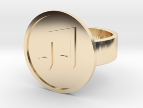 Beamed 8th Notes Ring in 14k Gold Plated Brass: 8 / 56.75
