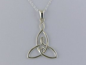Mother and Two Children Knot Pendant in Polished Silver