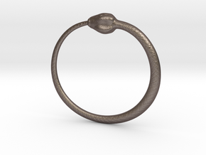Ouroboros Pendant 6.2cm in Polished Bronzed Silver Steel