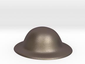 Army Brodie Helmet WW1 WW2 1:6 scale in Polished Bronzed Silver Steel