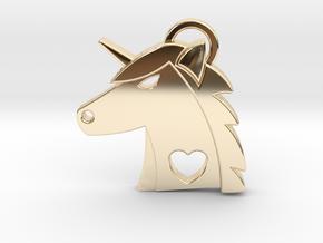 Unicorn Head Pendant in 14K Yellow Gold