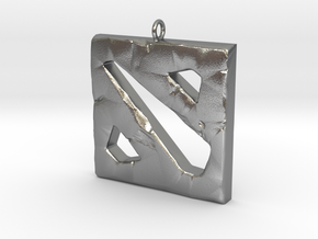 DOTA 2 Polygonal Logo Pendant Keychain Necklace in Natural Silver