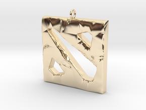 DOTA 2 Polygonal Logo Pendant Keychain Necklace in 14k Gold Plated Brass