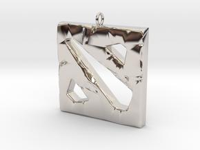 DOTA 2 Polygonal Logo Pendant Keychain Necklace in Rhodium Plated Brass
