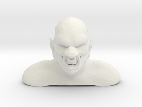 3D Ogre Bust in White Natural Versatile Plastic
