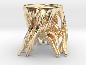 Tripod Julia bowl with smooth interior in 14K Yellow Gold: Small