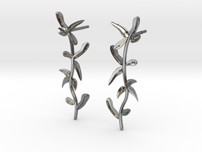 """At The French Window"" Laurel Earrings - SMK in Polished Silver: Large"