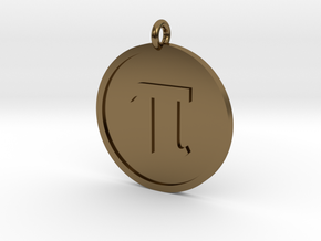 Pi Pendant in Polished Bronze