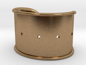 Cosplay Cuff Base (with holes for screw-back spike in Natural Brass: Small