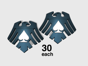 60x Raven Ace : Left & Right Shoulder Insignias in Smooth Fine Detail Plastic