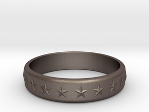 Stars Around (5 points, embossed, thick) - Ring in Polished Bronzed Silver Steel: 6 / 51.5