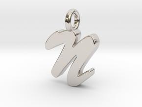 N - Pendant 2mm thk. in Platinum