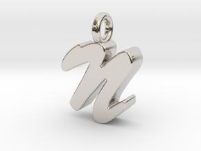 N - Pendant 3mm thk. in Rhodium Plated Brass