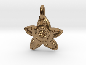 Starfish Charm Pendant in Natural Brass