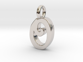 O - Pendant 2mm thk. in Rhodium Plated Brass