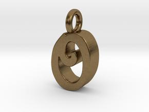 O - Pendant 3mm thk. in Natural Bronze