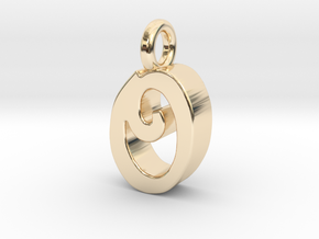 O - Pendant 3mm thk. in 14K Yellow Gold