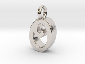 O - Pendant 3mm thk. in Rhodium Plated Brass