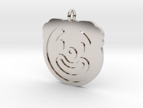 Clown Pendant in Rhodium Plated Brass
