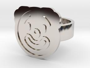 Clown Ring in Rhodium Plated Brass: 8 / 56.75
