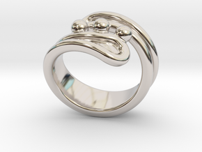 Threebubblesring 24 - Italian Size 24 in Rhodium Plated Brass
