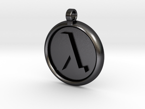 Half-Life Logo Pendant in Polished and Bronzed Black Steel: Extra Large