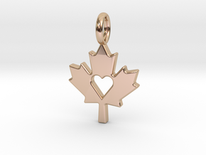 Love The Maple Leaf - Pendant in 14k Rose Gold Plated Brass