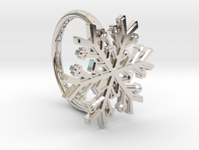 Snowflake Ring 1 d=16mm h21d16 in Rhodium Plated Brass