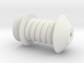 Spinning Wheel Bobbin Charm in White Natural Versatile Plastic